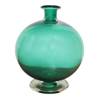 Mid-Century Spherical Footed Green Glass Vase