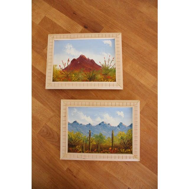 Framed Vintage Desert Paintings - Pair - Image 3 of 4