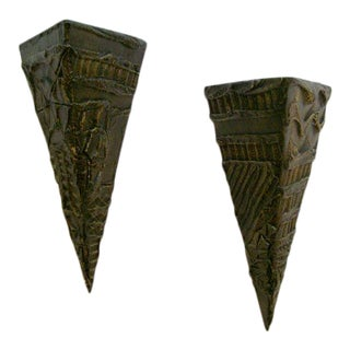 Pair of Paul Evans Brutal Wall Sculptures/Shelves