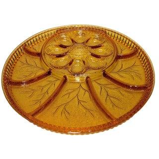 Vintage Amber Glass Appetizer Platter