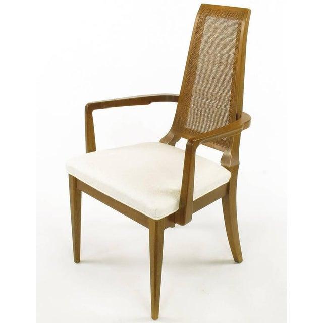 Sleek, circa 1950s Modern Walnut and Cane Dining Chairs - Image 5 of 10