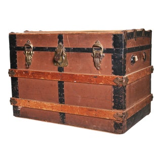Victorian Wood & Metal Flat Top Brown Steamer Trunk