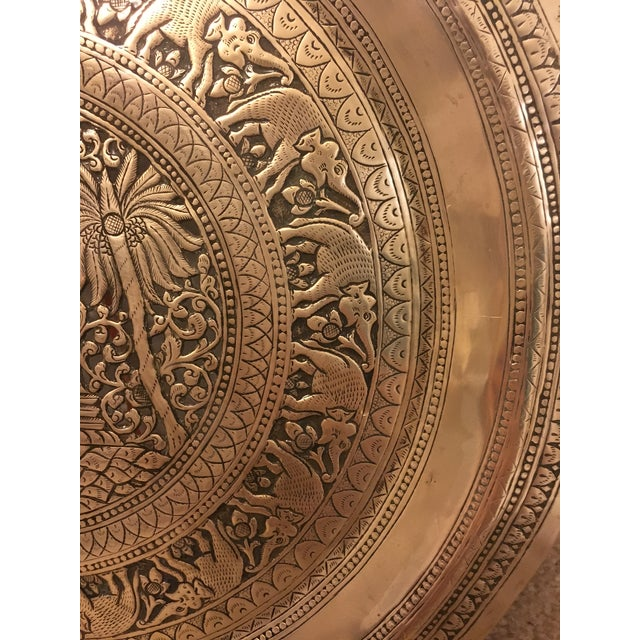 Hammered Brass Elephant Detailed Tray - Image 6 of 6
