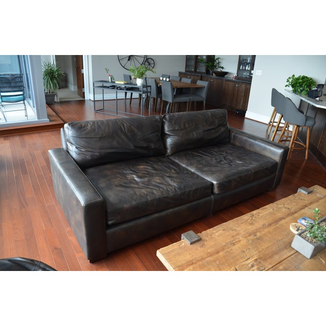 Restoration hardware maxwell leather sofa chairish for Restoration hardware sectional sofa sale