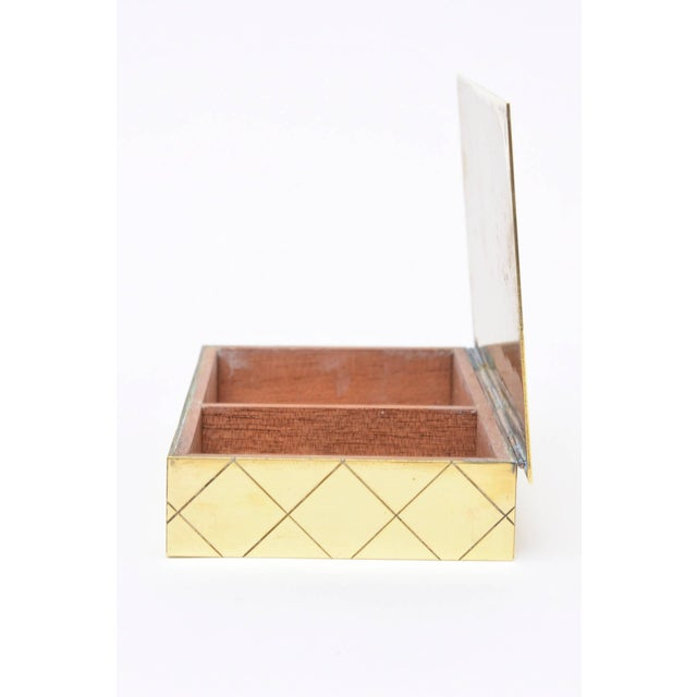 Tommi Parzinger Polished Diamond Criss Cross Brass and Wood Box - Image 6 of 9