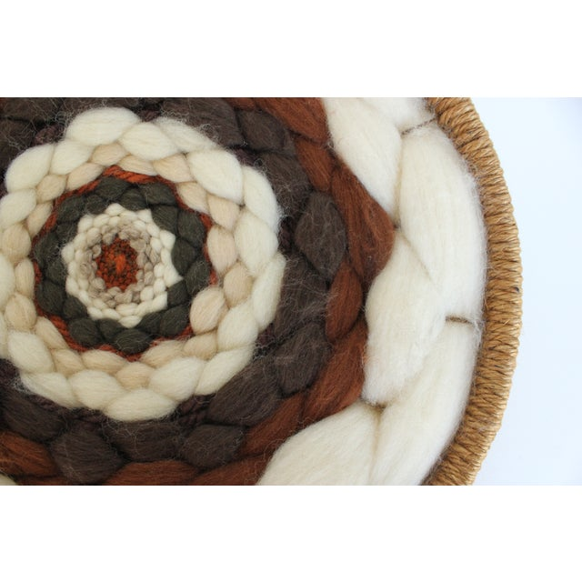 Image of Round Boho Fiber Wall Hanging in Wool and Jute