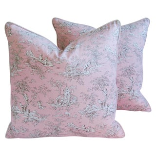 Large French Pink Toile & Velvet Pillows - Pair