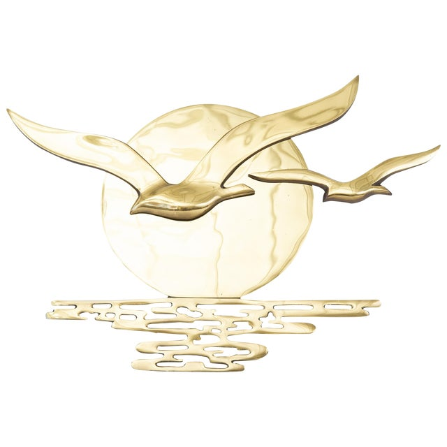Image of Vintage Brass Seagulls in the Sun Plaque