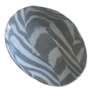 Hand Thrown Gray Marbleized Clay Tray