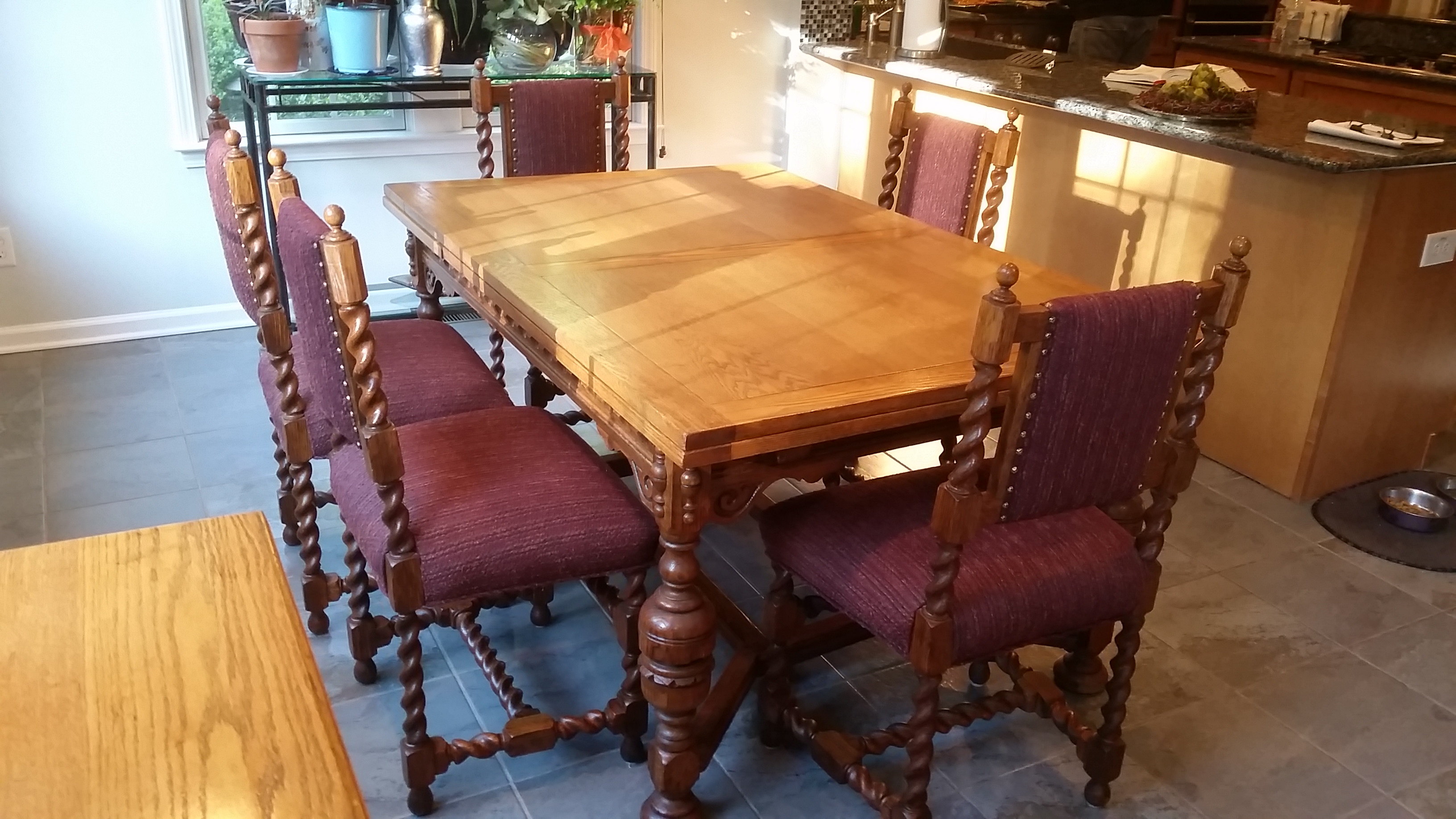 antique jacobean revival style dining set chairish jacobean oak dining chairs set of six for sale at 1stdibs
