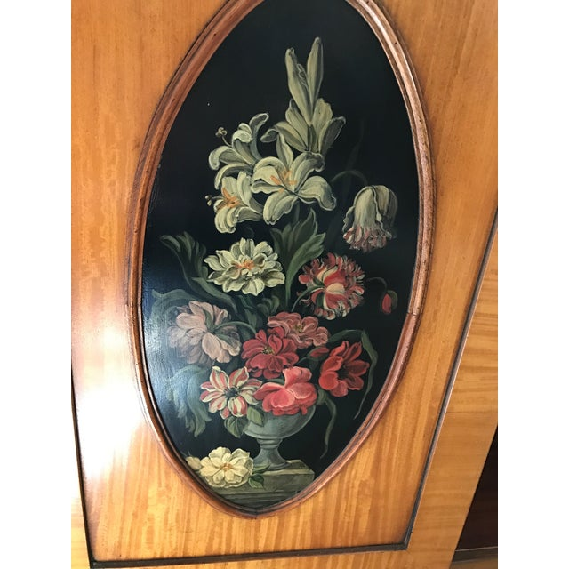 Regency-Style Satinwood Floral Bookcase - Image 5 of 10