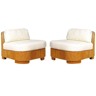 Exemplary Pair of Restored Large-Scale Vintage Bamboo Slipper Loungers