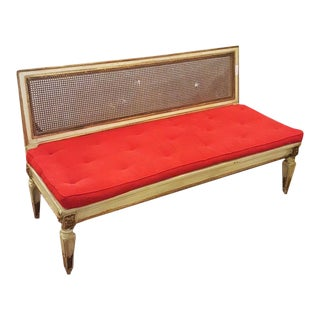 Tan Painted Settee With Red Cushion