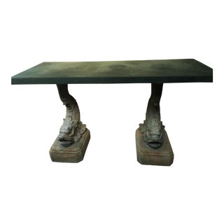 Stone Console Table with Sculpted Fish Legs