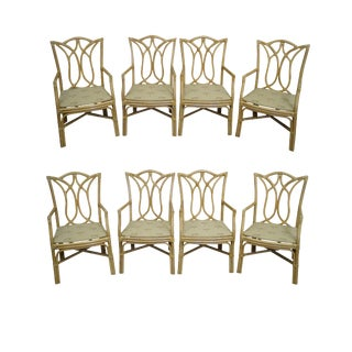 Rattan Chinese Chippendale Dining Chairs - Set of 8