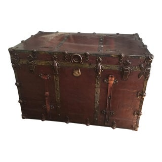 Vintage Industrial Leather & Brass Steamer Trunk
