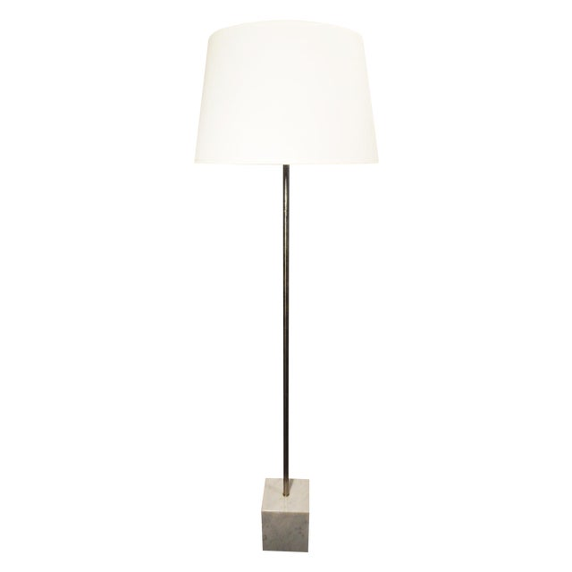 Mid-Century Chrome & Marble Pencil Floor Lamp - Image 1 of 8