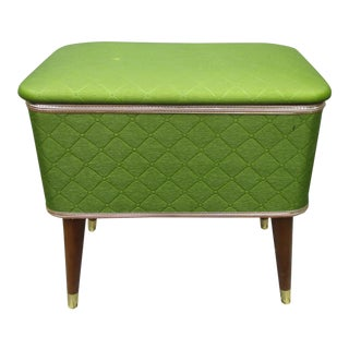 Vintage Mid-Century Modern Lime Green Sewing Stool