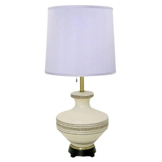 Lightolier Hand Thrown Stippled Glaze and Striped Pottery Table Lamp