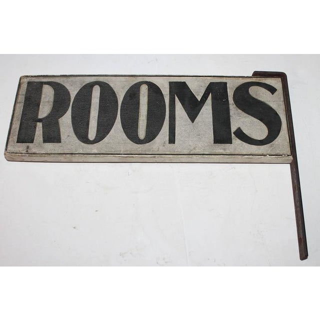 "Image of 19th Century Original Painted ""Rooms"" Sign with Iron Bracket"