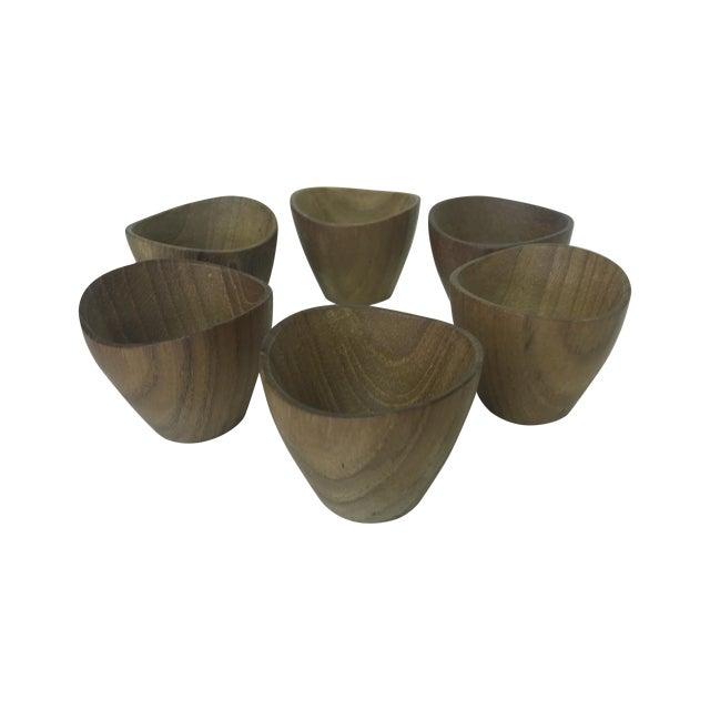 Ernst Henriksen Tiny Danish Teak Bowls - Set of 6 - Image 1 of 11