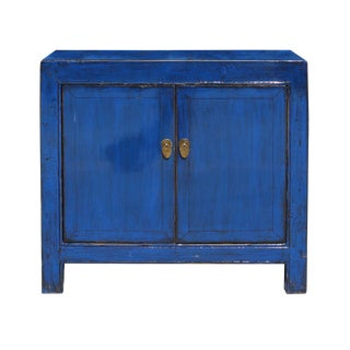 Oriental Simple Indigo Blue Credenza Sideboard Buffet Table Cabinet