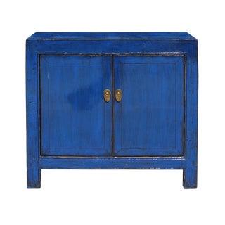 Oriental Simple Indigo Blue Credenza Sideboard Buffet Table Cabinet