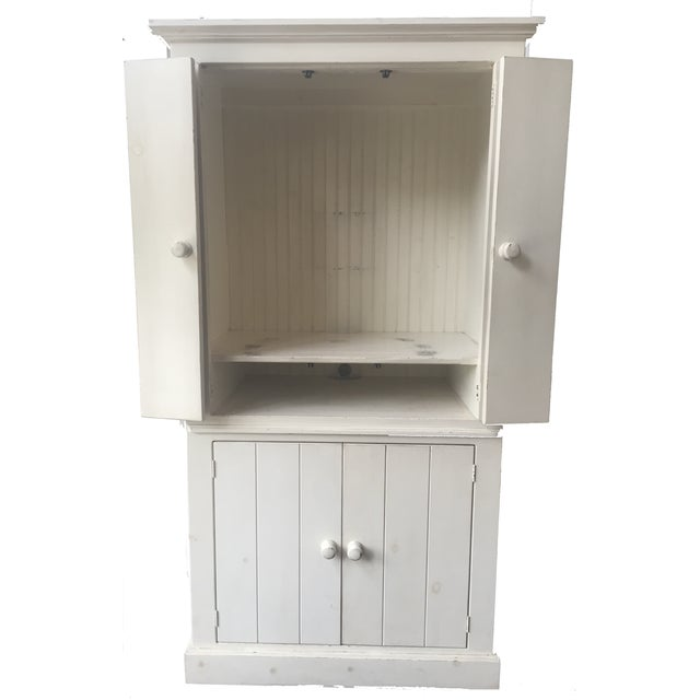 Rustic White Wood Armoire - Image 2 of 6