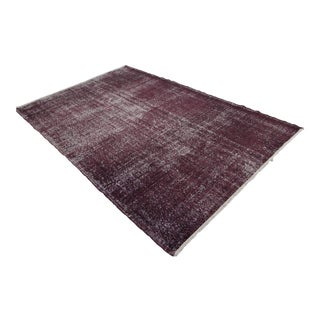 Turkish Burgundy Overdyed Hand Knotted Rug - 5′3″ X 8′8″