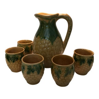 Vintage Ceramic Pitcher & Cups - Set of 5