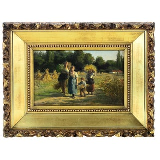 """""""Mother & Child Harvesting the Land"""" 19th Century Oil Painting"""