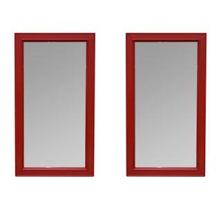 Red Lacquered Mirrors - A Pair