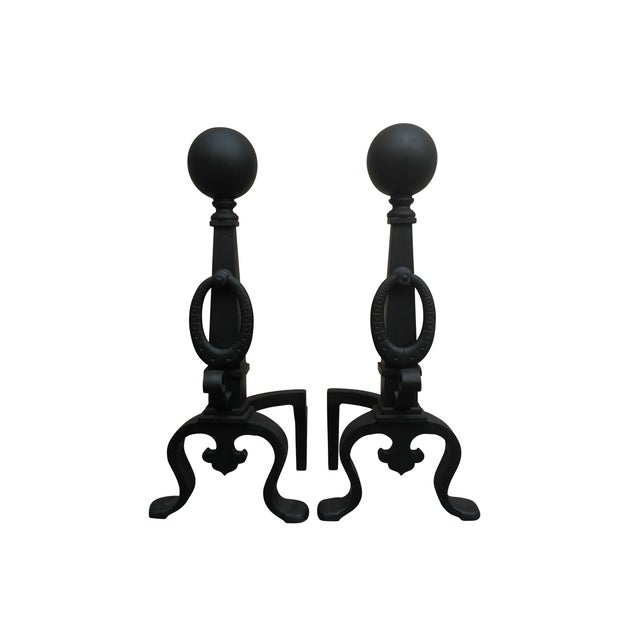 Eastlake Style Cannon Ball Top Andirons - A Pair - Image 1 of 7