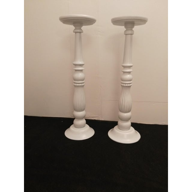 White Wooden Plant Stands - Image 2 of 6