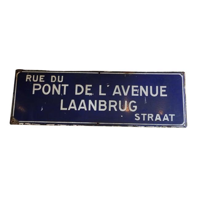 Rue Du Pont De L'Avenue Porcelain Street Sign - Image 1 of 8