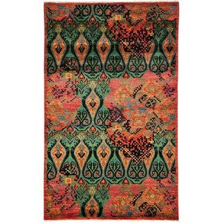 "Ikat Arts & Crafts Hand Knotted Area Rug - 5' 1"" X 8' 1"""