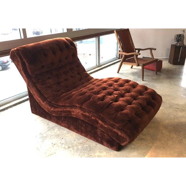 Mid-Century Custom Tufted Brown Velvet Chaise - Image 7 of 8