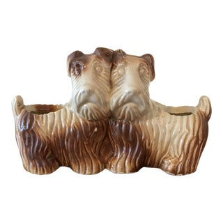 Vintage Double Sided Terrier Dogs Planter