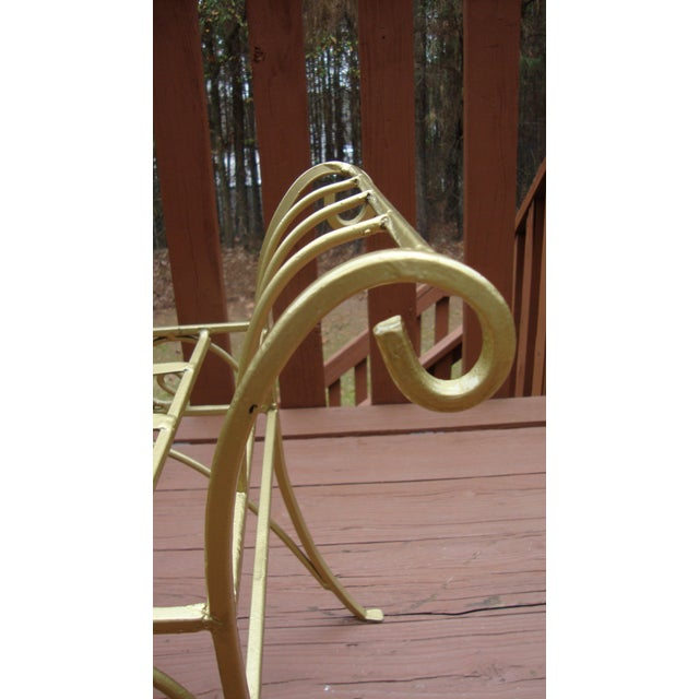 Metal French Art Deco Scroll Bench in Gold Tone - Image 3 of 11