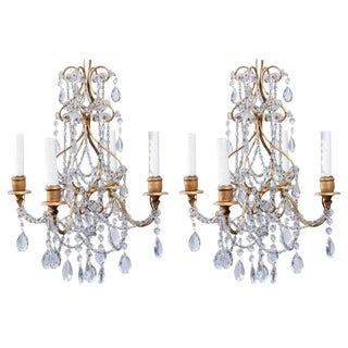 Pair of Small Size Italian Crystal Four-Light Chandeliers
