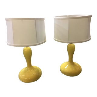 Mid-Century Butter Yellow Mushroom Lamps - A Pair