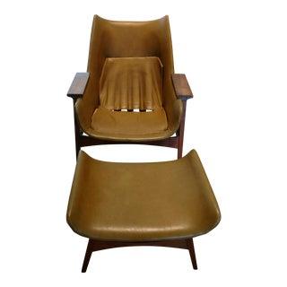 Foster McDavid Mid-Century Modern Chair & Ottoman - A Pair