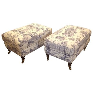 Classic Toile Pillowtop Ottomans - A Pair
