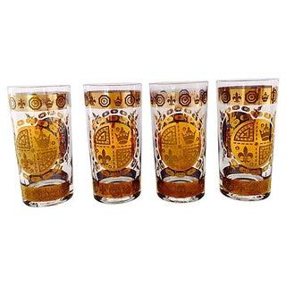 Fleur-De-Lis Gilt Glasses - Set of 4
