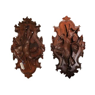 19th Century Swiss Walnut Black Forest Hunting Trophies - A Pair