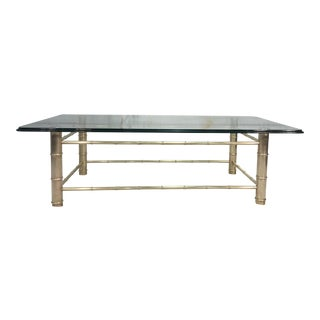 Brass Faux Bamboo & Glass Coffee Table
