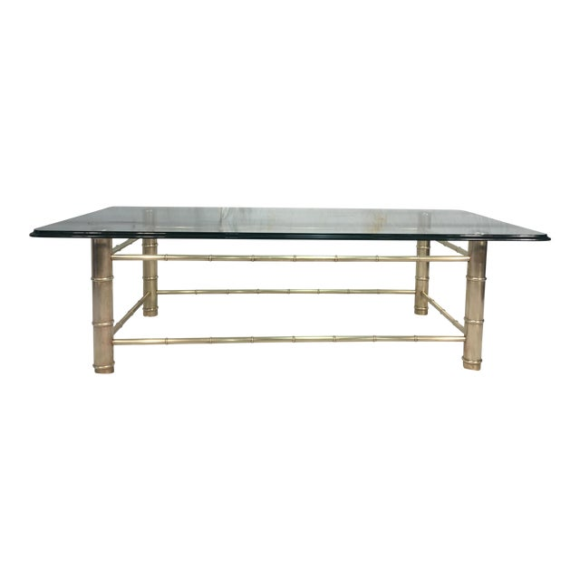 Brass Faux Bamboo Glass Coffee Table Chairish