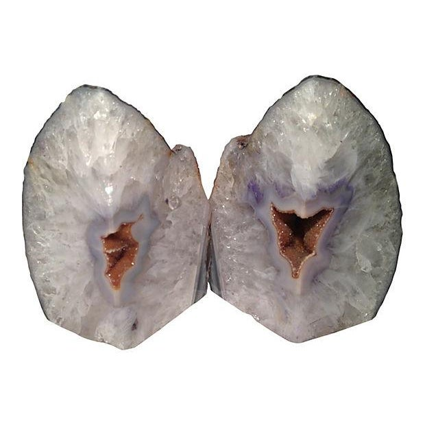 Purple crystal geode bookends a pair chairish - Geode bookends ...