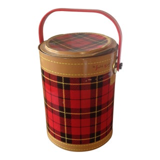 Mid Century Metal Plaid Cooler/Ice Bucket
