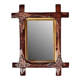 Antique Oak Wood Framed Mirror
